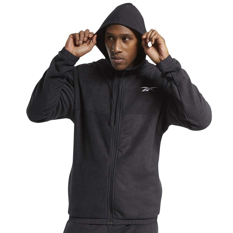 Bluza męska Reebok Workout Ready Fleece Full Zip Hoodie czarna FS8450